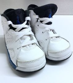 13a0c1f334b Nike Air Jordan Retro 6 BT White Legend Blue & Black 384667-107 Size 6C # Jordan #Athletic