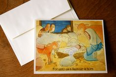 Christmas Card Set (Boxed) - Nativity - Baby Jesus in a manger- Greeting Cards (Blank). $15.00, via Etsy.