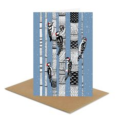 Christmas winter card - Woodpeckers - artistic greeting card, black & white, blue, art, nature, bird, snow, tree, animal, FREE SHIPPING