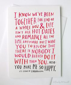A Love Card For When Youve Been Together by emilymcdowelldraws, $4.50