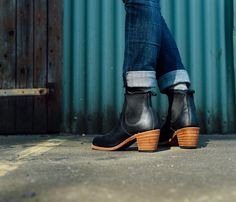 """The 2.36"""" Robus leather stacked heel on the Harriet has a rubber tap for grip and water resistance. #redwingheritage #redwingwomen"""