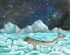 """Narwhal Print from my Nautical Illustration 8""""x10"""", 5""""x7"""", 9""""x12"""" or 11""""x14"""" - Children's Room Decor - Narwhal & the Milky Way by LunaReef on Etsy https://www.etsy.com/listing/70195627/narwhal-print-from-my-nautical"""