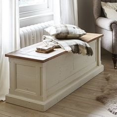 The natural finished driftwood surface of this blanket box adds to its rustic charm making this piece a must-have for relaxed bedroom setting.