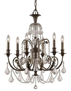 "View the Crystorama Lighting Group 5116-CL-MWP Regis 6 Light 26"" Wide Wrought Iron Candle Style Chandelier with Clear Hand Cut Crystal at Build.com."