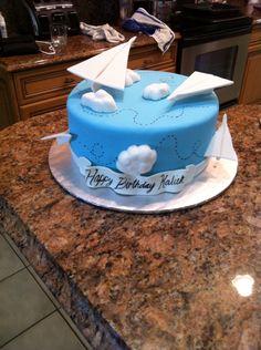 Paper airplane birthday cake
