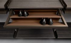 """""""Zenit"""" Wardrobe with shoe rack in regenerated beaver leather finishing. (by Rimadesio)"""