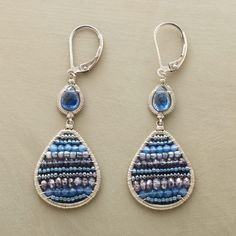 """BLUE DOLLOP EARRINGS--Dana Kellin """"colors in"""" each wire-wrapped oval with sparkling agate, iolite and blue quartz stripes, suspending it from a faceted kyanite. Handmade in USA of sterling silver"""