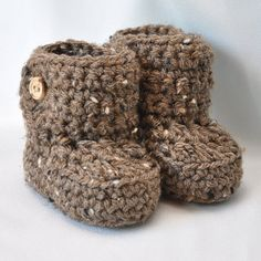 Baby Booties, Crochet Baby  Boots with button top in brown tweed, size 0 to 6 Months