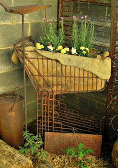 this is what i've been trying to tell my hubby about! Penny's Vintage Home: Grocery Cart Planter