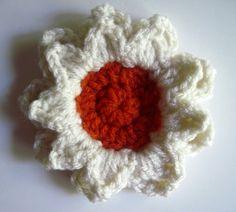 Crochet Flower Appliques - Burnt Orange and Creamy Off White - Set of 3 - Large. $3.80, via Etsy.
