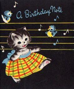 Birthday note cat & bluebirds