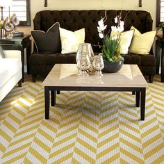 brown, yellow, stripes - living room
