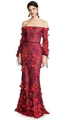 32d5923d8d Marchesa Notte Off Shoulder Embroidered Gown