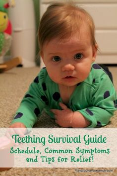 Teething Survival Guide - Typical Teething Schedule, Common Teething Symptoms and Tips to Provide Relief for your Baby or Toddler Baby Teething Remedies, Baby Teething Symptoms, Teething Relief, Kids Fever, Baby Fever, Baby Massage, Little Doll, Baby Hacks, Baby Tips