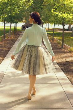Ladylike outfit with polka dot tulle skirt