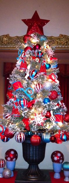 bluered and white christmas tree blue christmas decor turquoise christmas christmas