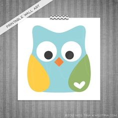 Owl DIY Printable Digital Wall Art 8x8. $3.00, via Etsy. Custom color option available! Sizing is FREE!