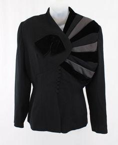 LILLI ANN VINTAGE BLACK GRAY CREPE VELVET LONG SLEEVE JACKET BLAZER 8 #LILLIANN #STYLISHVINTAGEJACKET