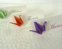 10 Marques place grue en origami orange / violet / vert pour mariage - baptême - anniversaire - décoration de fête