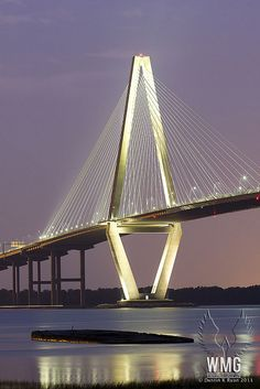 "Ravanel Bridge Charleston SC  This is a beautiful bridge ..... but I still miss the old ones that are part of my memories of my ""Navy Wife"" days in the '70s :-)"
