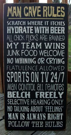 Large Wood Sign Man Cave Rules by BedlamCountryCrafts on Etsy, $70.00