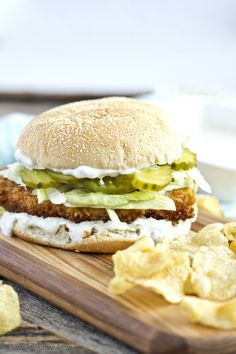 Crispy Chicken Sandwich with Dill Ranch Sauce