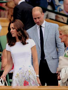 The Duke and Duchess of Cambridge welcomed by Gill Brook in the centre court royal box prior to the Gentlemen's Singles on day thirteen of the Wimbledon Lawn Tennis Championships at Wimbledon on July 16, 2017 in London, England.