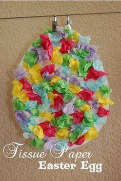Tissue Paper Easter Egg Kids art projects
