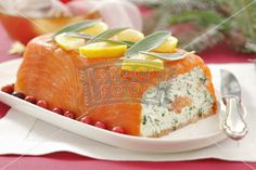 Smoked salmon terrine with soft cheese and herbs
