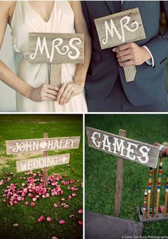 DIY wood wedding signs.  I also like the idea of croquet and other fun games for reception fun for everyone.