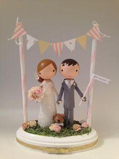 custom wedding cake topper with bunting by lollipopworkshop