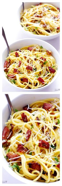 Spaghetti Carbonara -- one of my all-time favorite quick and easy pasta dishes!! gimmesomeoven.com #bacon #pasta