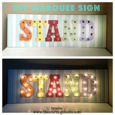 Make your own Marquee Sign with wooden letters, globe lights and beadboard! Tutorial on The Crafting Chicks. Marquee Letters, Wooden Letters, Marquee Lights, Fun Crafts, Diy And Crafts, Arts And Crafts, Decor Crafts, Diy Projects To Try, Craft Projects