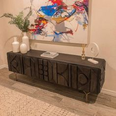 We translated the intricate design of ancient carvings to create the textural pattern of our Pictograph Buffet. Perched on Y-shaped metal legs, it's a look that reads both modern and glamorous. Large Tv Stands, Adjustable Shelving, Entryway Tables, Buffet, Carving, Shapes, Texture, Antiques, Wood
