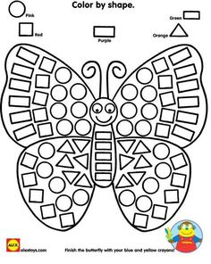 Practice identifying shapes while coloring in a beautiful butterfly printable! Looking for more opportunities to work with shapes? Check out our Alex Toys Ready Preschool Learning, Kindergarten Worksheets, Learning Activities, Preschool Activities, Preschool Forms, Alex Toys, Math Centers, Coloring Pages, Coloring Worksheets