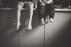 This reminds me so much of a pic of my sister Chris and I on Grama Mabel's counter when we were that age