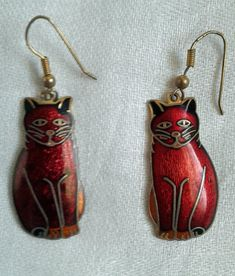 Red Cat Cloisonne Pierced Dangle Earrings Red Enamel and Black, Sitting Cats Whimsical Cats Cat Lovers Cat Jewelry Karen Snider