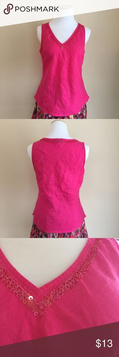 """H&M pink linen top w/beaded neckline H&M pretty pink linen sleeveless top with beaded/sequin embellishment.  Tag says size 12 but this fits small, please check measurements for fit.  Pullover style, rounded hemline, bust darts and contoured waist for feminine fit.  Condition:  excellent pre-loved, all beads/sequins intact.  Material:  100% linen.  Measurements (approximate, taken laying flat): length 23"""", pit-to-pit 18"""", flat waist 17"""", flat hem 19"""". H&M Tops"""