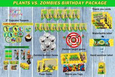 PLANTS vs ZOMBIES birthday package Plants by PreciousCelebration
