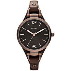 Fossil Watch, Women's Georgia Brown Leather Strap 32mm Es3200 ($95) found on Polyvore