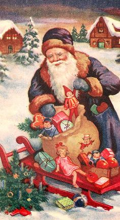 Vintage country Santa with wooden sled and bag of toys