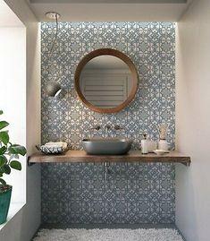 Ceramic Accent Tile - Vintage Moroccan Tile Design Backsplash Kitchen/Bathroom Home Decor Tiles Three Sizes Ceramic Tile Backsplash, Kitchen Wall Tiles, Kitchen Backsplash, Moroccan Tile Backsplash, Backsplash Arabesque, Moroccan Tile Bathroom, Blue Tile Bathrooms, Large Tile Bathroom, Blue Moroccan Tile