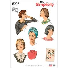 This accessory pack of a ring scarf, collar and cuffs, dickey and turban in one size is an exact replica of the original printed pattern from our archives circa Simplicity sewing pattern. Easy Sewing Patterns, Simplicity Sewing Patterns, Vintage Sewing Patterns, Clothing Patterns, Fashion Patterns, Pretty Patterns, Dress Patterns, Fabric Bows, Collar And Cuff