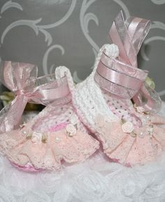 ballerina shoes pink lace to fit Newborn or Reborn doll
