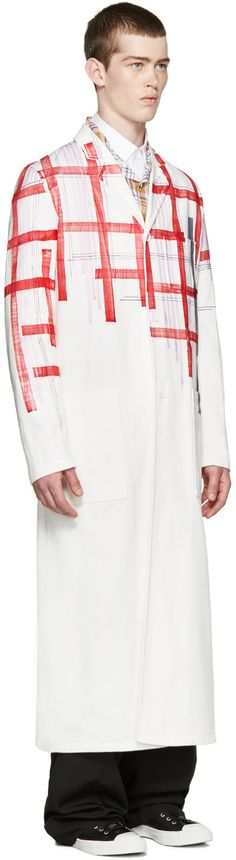 Raf Simons - White Fragmented Plaid Coat