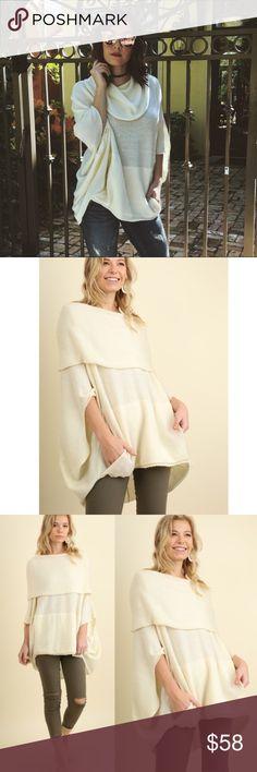 Cream Oversized Fold Over Sweater Cream Oversized Fold Over Sweater with Kangaroo Pocket No Trades Glamvault Sweaters