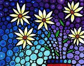 Floral Flower Art PRINT from Painting Beautiful Flowers Blue Purple White CANVAS Ready To Hang Large Artwork Mosaic Stained Glass Look Art