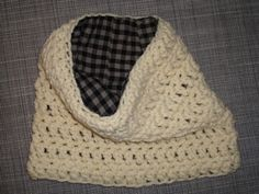 Flannel Lined Cowl Scarf, Neck Warmer, Cream, Black & Tan Plaid Flannel, Womens or Mens, Chunky Crochet