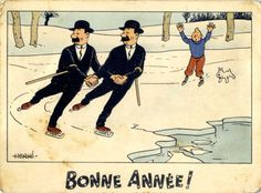 Happy new year! Janssen, Herge Tintin, Comic Art, Comic Books, Happy New Year Cards, Ligne Claire, Bd Comics, Illustrations, Ice Skating
