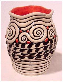 Kathy Jeffers Studio - Pottery  Good glaze example of wiping off and painting more